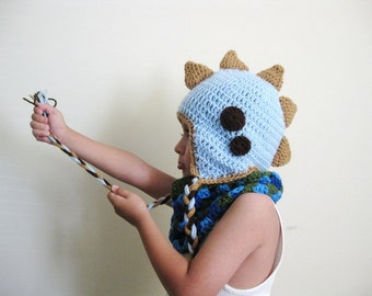 Dino spiky earflap beanie / dino hat / baby hat