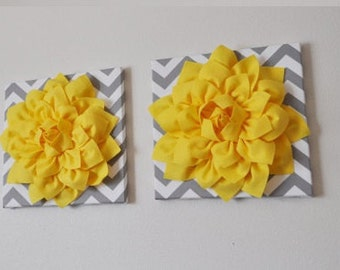 """TWO Wall Flower -Bright Yellow  Dahlia on Gray and White Chevron 12 x12"""" Canvas Wall Art- Flower Wall Art"""