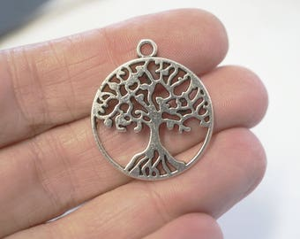 4 Metal Antique Silver Tree of Life Charms - 29mm