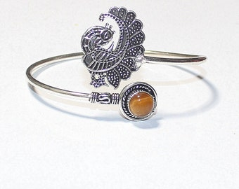 Yellow Tiger Eye 925 Silver Bangle