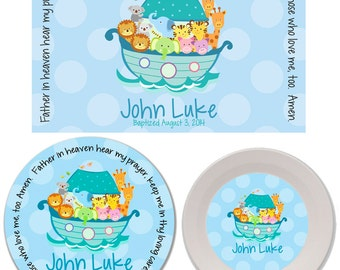 Personalized Kids Melamine Plate, Bowl and Placemat Set - Melamine Dinnerware Set - Mealtime Set - Kids Plate and Bowl Set - Noah's Ark Blue