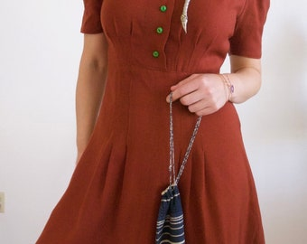 Rust Wool 1940s Dress with Lime Green Buttons and Puffy Shoulders // Size Medium
