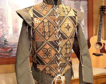 Men's Cavalier Renaissance Elizabethan Doublet with Sleeves available in chest sizes 30-52 WITH SLEEVES
