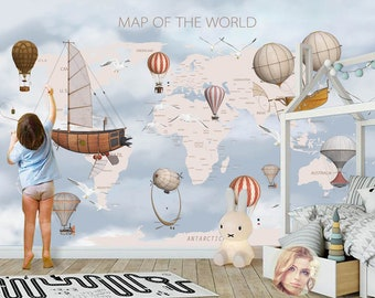 World map wall mural etsy 3d kid world map hot balloon removable wallpaperpeel and stick wall mural floral wall artwall decalkidsnurserywall sticker 16 gumiabroncs Images
