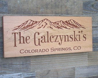Custom Cabin Sign, Personalized Sign, Cabin Decor, Wooden carved sign, Mountains, Wood carved Sign, Custom Signs, Benchmark Signs, Cherry TM