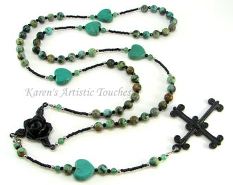 African Turquoise and Aventurine Gemstone Stainless Steel Rosary Necklace