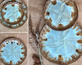 Wild Feathers Dinnerware Plate Set ~ Dinner Plate, Salad Plate ~ Native American ~ Rustic Vermont Handmade Pottery