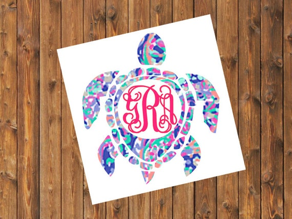 Free Shipping- La Playa Sea Turtle Monogram Decal, Personalized,Yeti Rambler, RTIC Corkcicle, Laptop,Sticker, Sea Turtle, Ocean Beach Bay