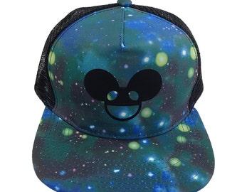 Deadmau5 EDM Rave Music Techno Trucker Hat, BLUE DOTS edc dj hat, Adjustable, Flat Bill, plur Kandi, Galaxy Trucker Hat, Black Deadmau5 Head