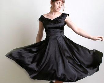 Vintage 1950s Style Black Dress - Bombshell 1960s Little Black Dress Light Satin Evening Formal Dress - Small Marilyn Monroe