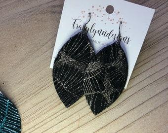 Black spiderweb leaf earrings