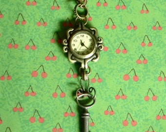 Antique Key and Neo-Victorian Steampunk Style Watch Pendant - Custom Steampunk Style Necklace