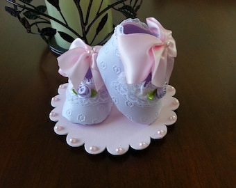 Lavender And Pink Shoe Cake Topper / Shower Cake Topper