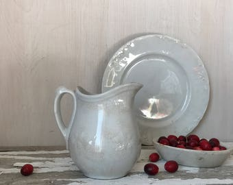 Ironstone * Ironstone Pitcher * Small Pitcher * French Country * Meakin * Cottage * White Ironstone * White China