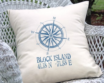 Customized Compass Rose with Latitude Longitude pillow (INCLUDES PILLOW INSERT)