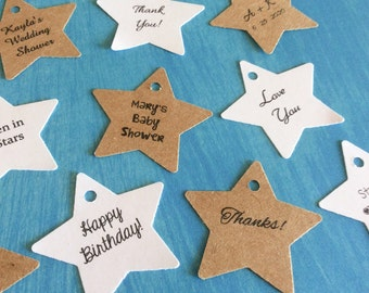 Star Tags, Gift Tags, Set of 100, Party Tag, Stars, Confetti Star