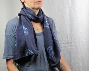 Handprinted silk scarf//Luxurious//Lined scarf//Handdyed//Gold foiled//Charcoal//Mandala//Heavyweight scarf//Black jersey lined