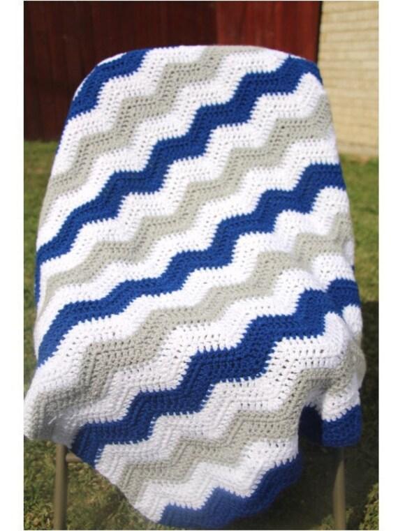Blue Grey Baby Blanket Crochet Baby Blanket Chevron Baby