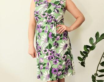 Vintage, Unworn Floral Knee Length Shirt Dress -- Green and Purple Floral