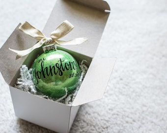 Last Name Christmas Ornament. Hand Lettered Personalized Newlywed Christmas Ornament.