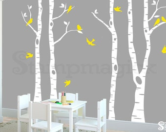 Birch Trees Wall Decal for Baby Nursery - Tree Wall Decal with Birds - Removable Vinyl Wall Art Sticker Home Décor- K260