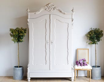 Rare Antique Dutch Knockdown Carved Double Wardrobe Armoire Cupboard Painted in Farrow & Ball