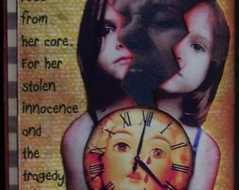 PRIMAL SCREAM altered art collage therapy trauma abuse ATC ACEO PRINT