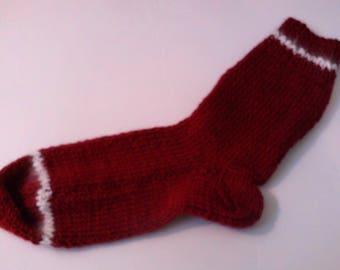 Hand Knit Alpaca , Wool Socks Women,s  Large 8-10 Cranberry