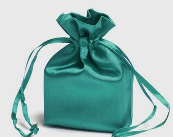 Medium Turquoise Satin Gift Bag