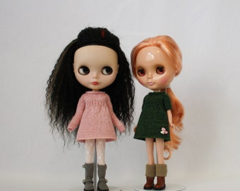 Blythe doll Zenia Dress knitting PATTERN - cute long or short sleeve sweater dress - instant download - permission to sell finished items