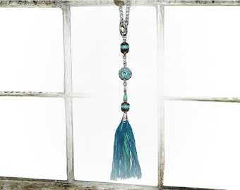 Bohemian Silk Tassel Window Mobile. Turquoise Blue Indonesian and Gemstone Beads
