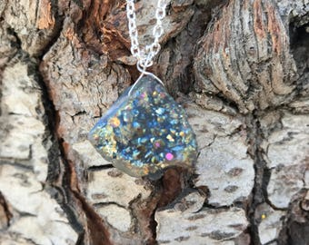 Raw Iridescent Druzy Agate Necklace