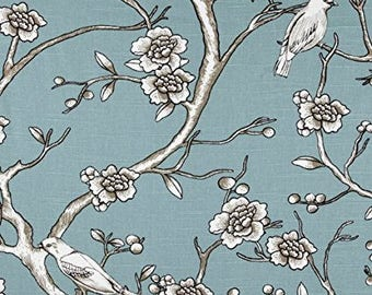 Dwell Studio Vintage Blossom Slub Jade Fabric By The Yard