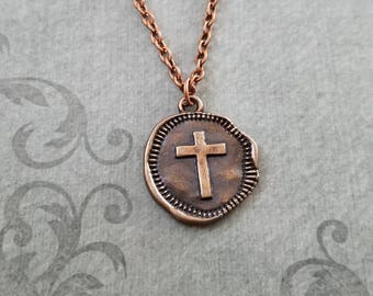 Cross Necklace Cross Charm Necklace Cross Pendant Necklace Women's Jewelry Copper Cross Jewelry Cross Coin Wax Seal Necklace Christian Gift