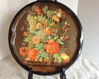 Vintage Daher Serving Tray, Round Tin Platter, Floral Serving Tray, Room Decor, Vanity Tray