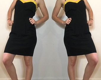 Vintage 1990's Black and Yellow Wiggle Dress