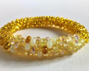 Bracelet, Bangle, Cuff, Yellow, Jewelry, Gift, Glass Beads
