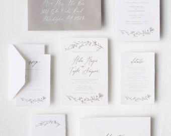 Handmade Botanical Calligraphy Invitation / Rosaline Suite
