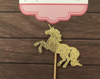 Brillo unicornio cumpleaños cupcake Toppers 12 - personalizado y hecho australiano