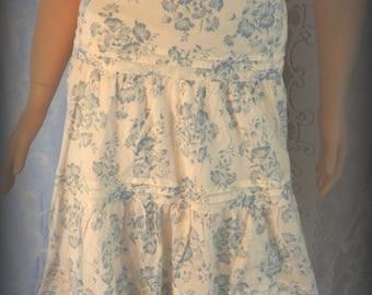 Women's floral skirt, Hippie skirt, White skirt, Summer skirt, Size 12 skirt, Ruffle skirt, Twirl skirt