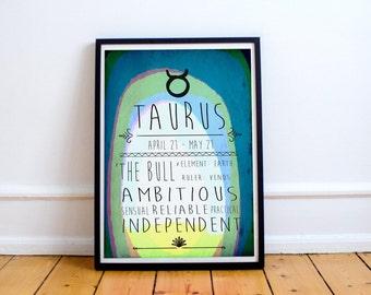Taurus - Zodiac Star Sign Typography Print - Colourful - Birthday - Starsigns - Birthdate - Astrology - Horoscopes - Star-signs
