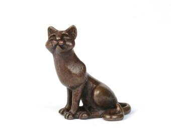 Bronze cat, miniature cat sculpture, hot cast bronze, sitting cat, bonsai animal figurine, bronze collectible,  stocking filler, small gift