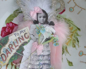 Valentine any time*Princess angel*Hand cut two layers*Dazzling crown*German glitter*To my darling ornament