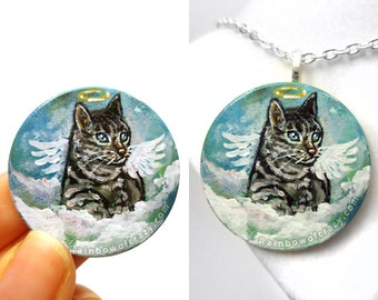 Tabby Cat Pendant, Angel Necklace, Original Painting, Pet Keepsake, Memorial Jewelry, Pet Owner Gift for Her, Hand Painted Wood