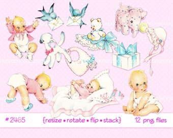 Digital Clipart Instant Download Vintage Baby Clip Art Toddlers Infant Lamb Girl Birds Toys Printable Png Files 2465