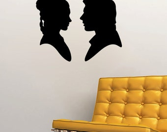 """Han Solo and Princess Leia Silhouette Wall Decal (22""""w x 17""""h)"""