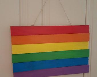 Wooden Rainbow Flag Plaque