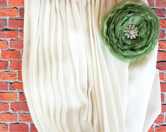 Green flower. Organza flower. Cabbage rose. Textile flower. Dress accessories. Rose brooch. Flower brooch. Dress corsage. Textile brooch.