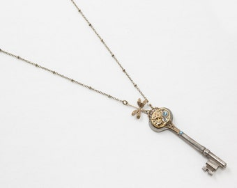 Steampunk Antique Skeleton Key Necklace with Gold Watch, Aquamarine Crystal, Pearl and Dragonfly Pendant, Filigree Statement Necklace