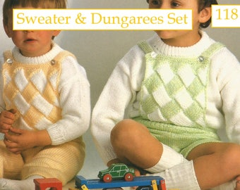 INSTANT DOWNLOAD - PDF - Pretty Sweater and Dungarees Set Knitting Pattern (118)